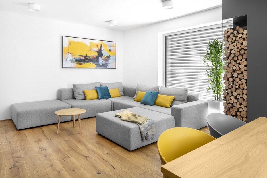 Kotna sedežna garnitura Kauch Build, stanovanje Duxa Studio